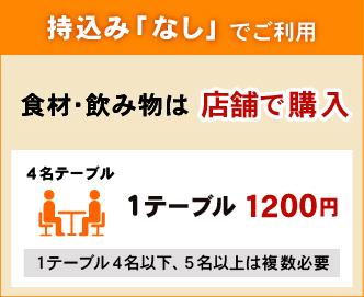 食材・飲み物持ち込みなしの場合 1テーブルにつき1200円